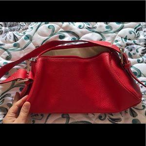 Red leather shoulder purse